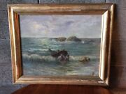 Oil Painting On Wood Depicting Marine Glimpse By Giacinto Bo