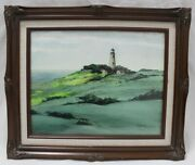 Lighthouse On A Grassy Meadow Along The Coast By David J. Rogers Watercolor Art