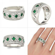 1.76ct Natural Round Diamond Emerald 14k Solid White Gold Band Ring Size 7