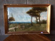 Oil Painting Oil On Canvas Marine Glimpse By Giacinto Bo