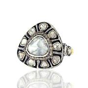 Natural Polki Diamond 14k Gold 925 Sterling Silver Vintage Ring Jewelry For Her