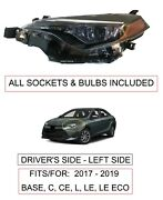 New Driver Left Side Headlight For Fits 2017-19 Toyota Corolla L Le Le Eco C Ce