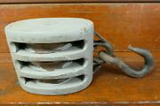 """Antique Late 1800s Huge Nautical Ships Pulley Wood And Hand Forge Iron 22"""" Long"""