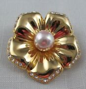 Nolan Miller Gold Plated Flower Floral Brooch Pin Faux Pearl Crystals