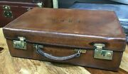 Lovely Large Leather Fitted Mens City Attache Document Briefcase Suitcase C 1900
