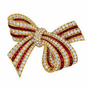 3.51ct Natural Round Diamond 14k Solid Yellow Gold Ruby Gemstone Brooch