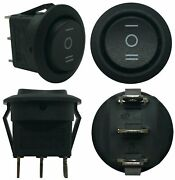 4 Black Non-illuminated Latching Down / Off / On Round Rocker Switches 12v