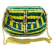 Indian Antique Ethnic Purse Mosaic Stone Clutch Detachable Chain Women Bridal Gi