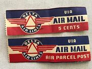 2 Delta Airlines Different Air Mail Vintage Stickers