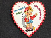 Vintage Valentines Day Card Fireman Girl Boy Ch-hose You Sweethea Heart Shaped