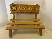Huskies Most Advertised Sports In America Sign Store Display Wood Bench Dog