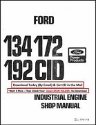 Ford 134 172 192 Cid Industrial Engine Service Manual On Cd