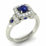 Certified 14k White Gold 0.93 Ct Blue Sapphire And Diamond Vintage Halo Ring