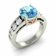 Certified 3.27 Cts Real Blue Topaz And Si Diamond Vintage Look 14k White Gold Ring