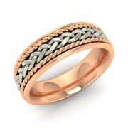 Certified Braided Design 18k Rose Gold Menand039s Wedding Band Ring Size 10 11 12