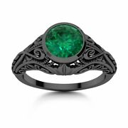 Vintage Solitaire Engagement Ring W/ 0.75 Ctw Natural Emerald In 14k Black Gold
