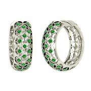 Certified 0.76 Ctw Natural Emerald Womenand039s Hoop Earrings In 14k Solid White Gold