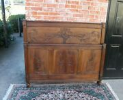 Antique French Solid Wood Louis Xvi Full Size Double Bed With Rails