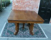 American Antique Oak Empire Style Dining Table / Kitchen Table With 3 Leaf