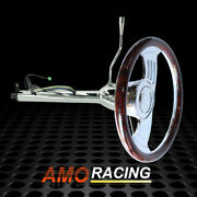 Chrome 28 Auto Steering Column W/ 14 Gaap Steering Wheel And Flame Horn Button