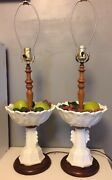 2 Vintage 1940s Pair White Fostoria Milk Glass And Wood Fruit Bowl Tall Lamps