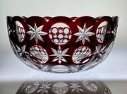 Australian Fire Relief Vintage Bohemian Cut Glass - Large Red/clear Bowl Signed