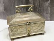 Antique Persian Qajar Islamic Brass Bronze Footed Casket Box 1800s Hand Chased