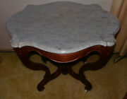 Antique Victorian Carved Walnut Marble Top Parlor Table