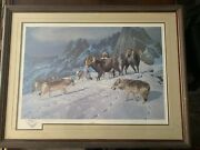 Rare Hayden Lambson Signed A/p Remarque Edition Ram And Snow Wolf Print 25/25