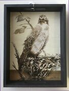 Decorative Wooden Serving Tray W Handles And Sepia Tone Image Of Nested Osprey