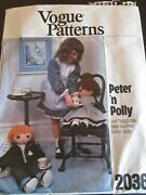 Vtg Vogue 80s Doll Craft Pattern Kit Boy Girl Peter And Polly 24 Cut W/ Fabric