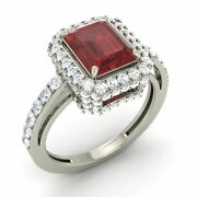Emerald Cut 2.27 Ct Certified Garnet And Diamond 14k White Gold Engagement Ring