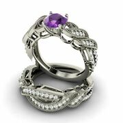 Certified Amethyst And Si Diamond 14k Gold Vintage Look Bridal Set Engagement Ring