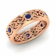 Certified Blue Sapphire 14k Rose Gold Celtic Menand039s Womenand039s Wedding Band Ring