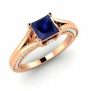 Engagement Ring 1.01 Ctw Blue Sapphire And Diamond 14k Rose Gold Women's Jewelry
