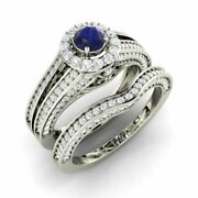 Certified 1.44 Ctw Blue Sapphire And Si Diamond Engagement Wedding Bridal Ring Set