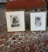 Pair Of Vintage Signednumbered 1967 Etchings By Listed Artist Whitford Carter
