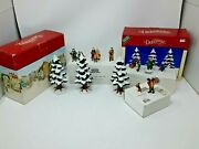 Lot Of Dept 56 And Assorted Snow Village Christmas Trees And Figurines 39pcs
