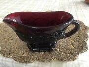 Avon 1876 Cape Cod Collection Footed Sauce Gravy Boat Ruby Red Glass