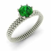 Certified 0.75 Cts Natural Emerald Real 14k White Gold Solitaire Engagement Ring