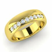 Certified 14k Yellow Gold 0.27 Ctw Natural Diamond Menand039s Wedding Band Ring