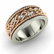 Certified 0.20 Ct Natural Diamond 14k White Gold Mens Wedding Two-tone Band Ring