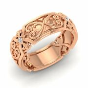 Certified Si Diamond 7mm Filigree Vintage Style Menand039s Ring In 14k Rose Gold