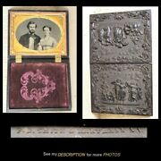 1860s 1/4 Plate Thermoplastic Case 1-39 Signed Ambrotype And Case Gutta Percha