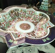 Fine Porcelain By Royal Derby Imari Style Art Deco Style Footed Pedestal Bowl