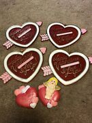 Lot Of 4 Vintage Plastic Valentine Hanging Decorations And 2 Heart/cherub Magnets