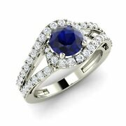 Certified 1.55 Ct Blue Sapphire And Diamond 14k White Gold Halo Engagement Ring
