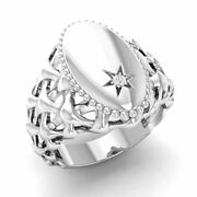 Certified 0.01 Ct Natural Round Diamond Signet Menand039s Ring In 14k White Gold