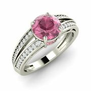 1.32 Ct Certified Pink Tourmaline And Real Diamond 14k White Gold Engagement Ring