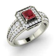 Certified 1.17 Ct Princess Cut Ruby And Diamond 14k White Gold Engagement Ring